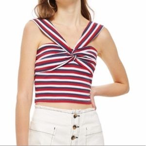 TOPSHOP Red, white and blue Knot Striped Crop Top